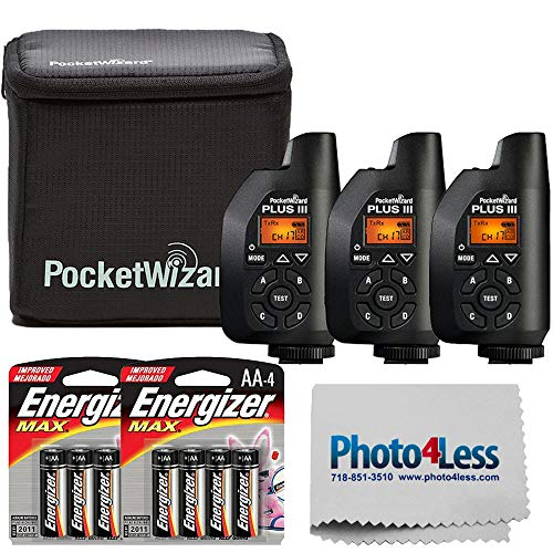 PocketWizard Plus III Bonus Bundle Includes 3 Plus III Transceivers + Case + Premium Max AA Batteries and Lens Cleaning Cloth
