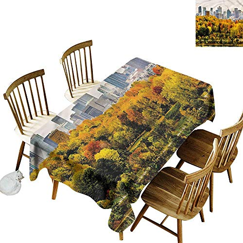 home1love Waterproof Table Cover Fall Montreal in Autumn Season Dinner Picnic Table Cloth Home Decoration 60