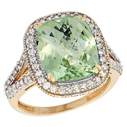 10k Yellow Gold Diamond Halo Genuine Green Amethyst Ring Cushion-cut 12x10mm sizes 5-10