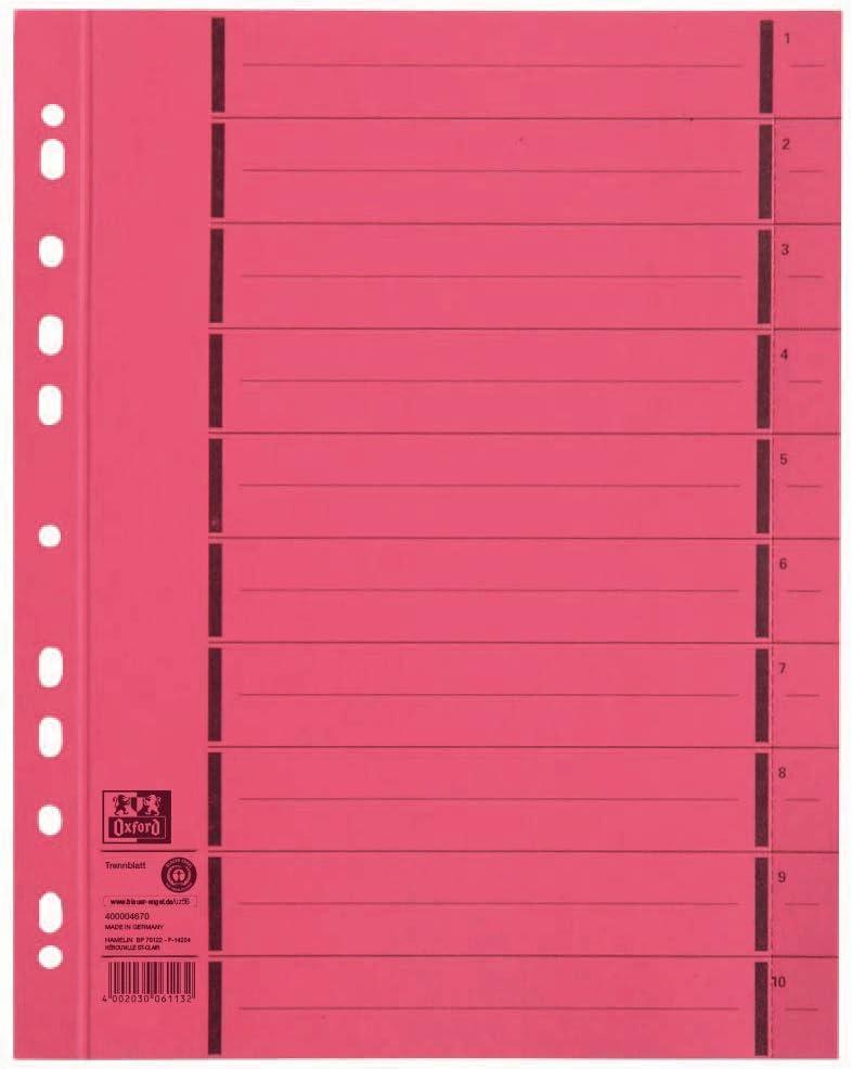 arancione cartone RC Elba 06451GN numerati da 1-10 100 pezzi con righe colorate sovrastampate Fogli separatori eleganti con perforazione