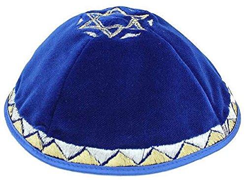 Kippah-Kipah-Yarmulke-Strings-Star-of-David-Design-Royal-Blue-Silver-Gold-Velvet