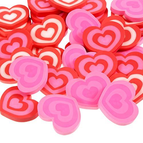Jovitec 36 Pieces Mini Heart Erasers Valentines Rubber Eraser for Valentine Office School Supplies