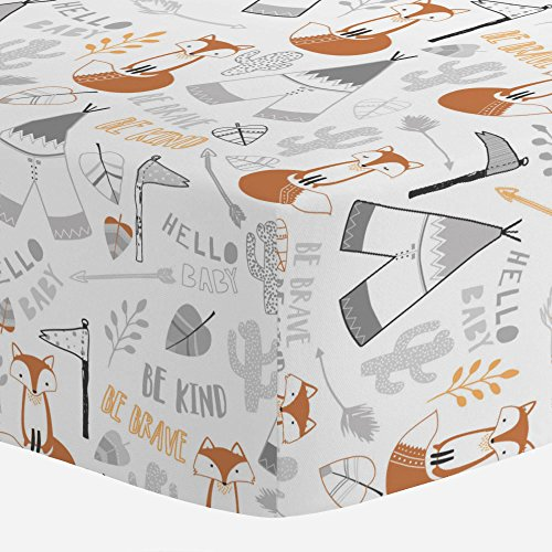 (Carousel Designs Brave Fox Crib Sheet - Organic 100% Cotton Fitted Crib Sheet - Made in The USA)