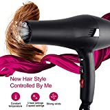 [UPGRATED]2019 Hair Dryer 2000W Negative Ionic Blow Dryer Professional Salon Fast Drying Far Infrared Heat (Black A)