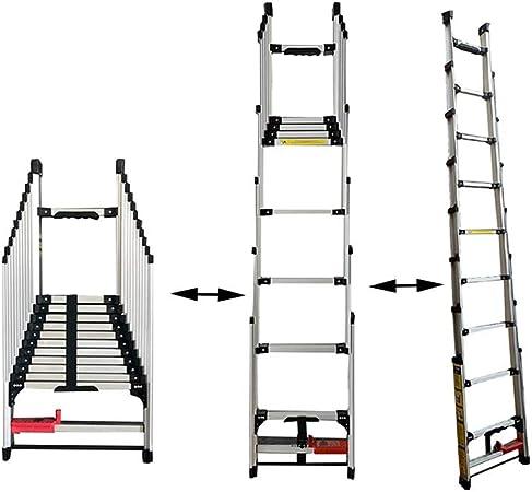 XSJZ Escalera Recta Escalera de Extensión, Aleación Ligera de Aluminio, Telescópica, Plegable, Multifunción, Pequeña Escalera Mecánica, Adecuada Para Escaleras de Uso Doméstico Área de Construcción (3: Amazon.es: Hogar