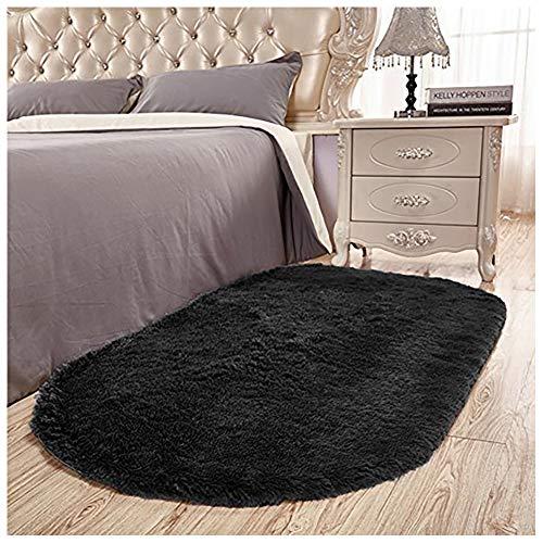 Junovo Ultra Soft Modern Fluffy Area Rug Living Room Bedroom Kids Room Nursery,2.6 X 5.3,Black