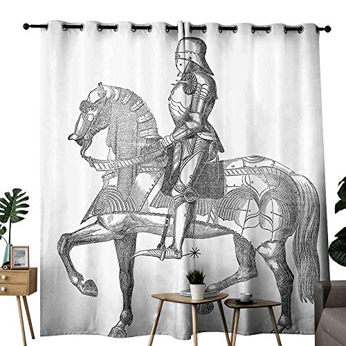 (duommhome Medieval Decor Collection Bathroom Curtain Retro Vintage Stylized Illustration of Middle Age Renaissance Knight on The Horse Energy Saving Provides a Modern Look W96 xL72 Black White)