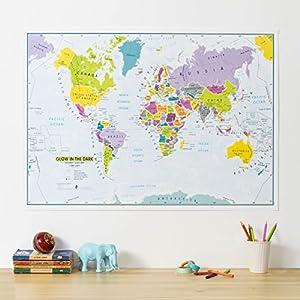 Children's world map glow in the dark/bestel per set 5425013069939