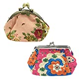 Wrapables Canvas and Embroidered Floral Coin Purse (Set of 2), Light/Bright Pinks