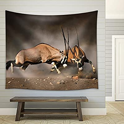 With a Professional Touch, Dazzling Technique, Intense Fight Between Two Male Gemsbok on Dusty Plains of Etosha Fabric Wall