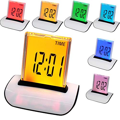 orvo 7 LED Color Changing Alarm Clock LCD Big display Digital Thermometer Calendar Display Time, Date, Week, Temperature Multifunctional best gift for kids table desk type in Bedroom Travel Home