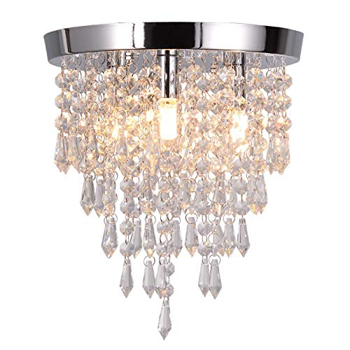 Toonshare Crystal Chandeliers, Modern Pendant Flush Mount Ceiling Light Fixtures, 3 Lights, H11.3 W9.8 Inches, Contemporary Elegant Design Style Suitable for Hallway, Living Room, Dining Room