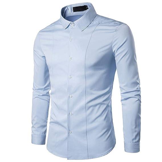 Camisa de Vestir de Manga Larga de algodón de Moda Casual de algodón de Manga Larga