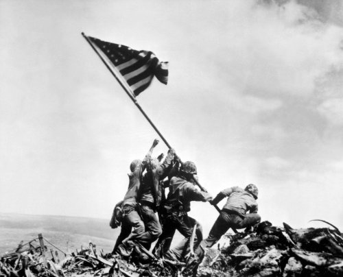 (Flag Raising at Iwo Jima and Japanese Surrender Poster Art Set Photo WWII Posters Iconic Photos Artwork 11x14 and 12x18 Set of 2)