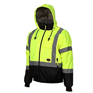 Pioneer High Visibility Safety Bomber Jacket for Rain - Hi Vis, Waterproof, Reflective, ANSI Class 3, Work Coat with Detachable Hood for Men – Yellow/Black