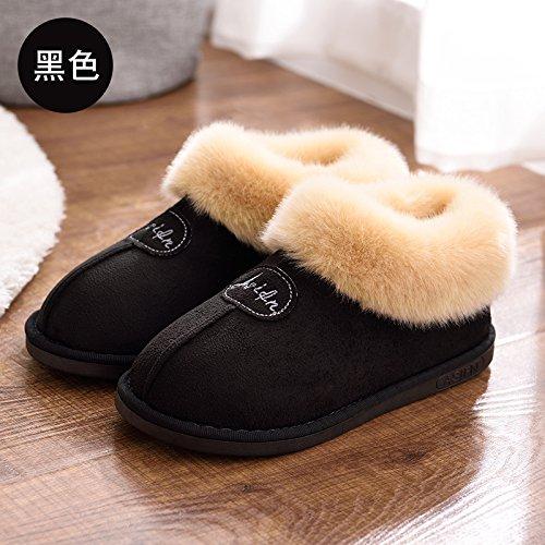 paquete interiores zapatillas antideslizante de algodón Home Home amantes con minimalistas e cálidos Otoño Zapatillas DogHaccd zapatillas femenino invierno Negro1 de grueso Invierno algodón de IwFzSAnxOq