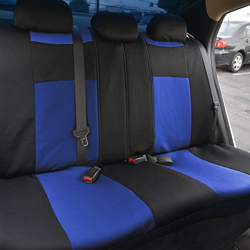 Blue Black Car Seat Covers w// Split Bench /& PU Perforated Steering Wheel Cover