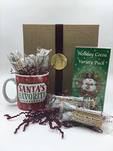 Hot Chocolate Gift Set – Santa's Favorite Mug, 5 Cocoa Mixes & 6 Mini Biscotti, Perfect Gift for Coworkers, Friends, Boss, Teachers and More