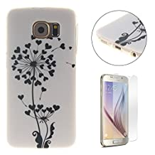 CasesHome Premium TPU Silicone Gel Protective Case Shockproof Soft Rubber Shell Cover for Samsung Galaxy S6 Edge With Unique Patterned Design-Love Heart Flower
