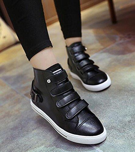 Idifu Femmes Casual Haut Haut Plat Crochet Et Boucle Sneakers Chaussures De Skateboard Noir