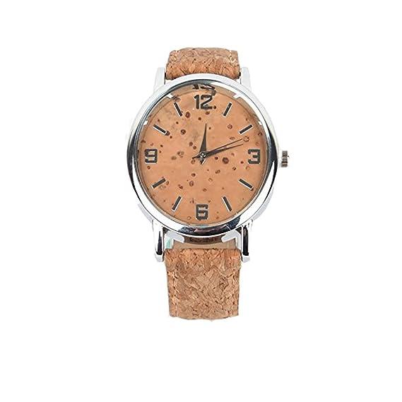 Correa de reloj (corcho natural, corcho rústico con piel artificial a mano Correa de