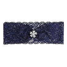 Prettybabyonline Vintage Wedding Bridal Garter Set Belt Series Lace Pearls Navy Blue