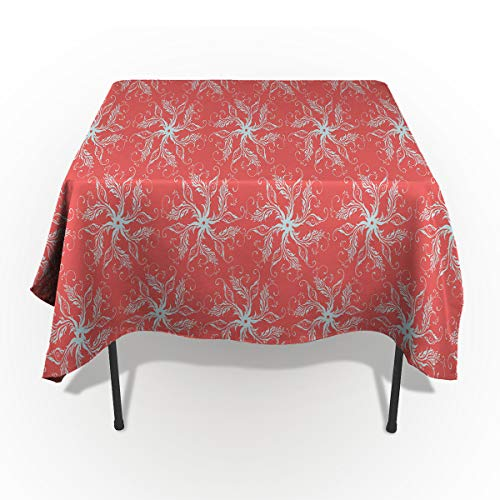 60 x 84 Inch Rectangle Tablecloth - Vintage Paisley Jacquard Leaves Red Rectangular Polyester Table Cloth Table Covers Linen Decor - Great for Kitchen Table, Parties, Holiday Dinner, Wedding & More