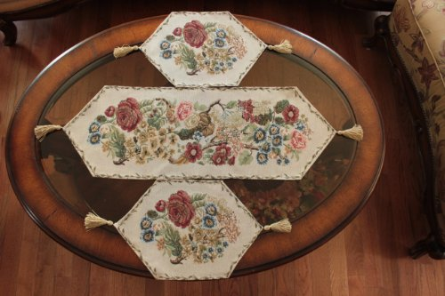 Tache 3 Piece Floral Tapestry Country Rustic Morning Meadow Table Runner Set