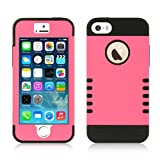 Premium Iphone 5, 5s Travel Case Holder HOT PINK High Impact Protective Dual Layer Protective and Cleaning Cloth and Protector