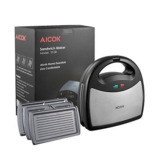 Aicok maker, Sandwich toaster, 3-in-1 Detachable LED Lights, Black