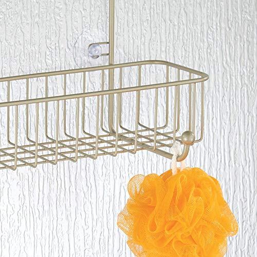 mDesign Extra Wire Shower Door Storage Organizer Built-in Baskets on Shampoo,