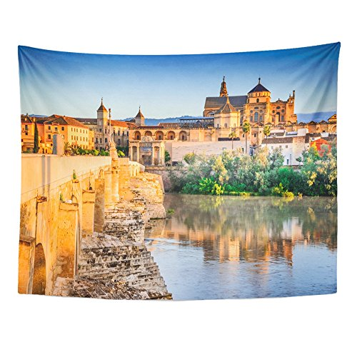 Emvency Tapestry Mandala 60''x80'' Home Decor Cordoba Spain Roman Bridge On Guadalquivir River And The Great Mezquita Cathedral At Tapestries Bedroom Living Room Dorm by Emvency