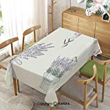Homenon Tablecloth for Dining Room for Rectangle Tables Lavender,Spillproof Modern Printed Pale Mauve Green,55 X 70