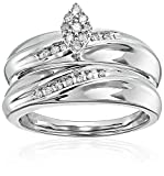 Sterling Silver Diamond Marquise Cluster Bridal Ring, Size 8 (1/5cttw)