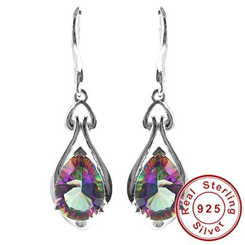 (AYT Fashion Pear 7ct Genuine Gem Stone Natural Rainbow Fire Mystic Topaz Dangle Earrings Drop Real Solid Pure 925 Sterling Silver)