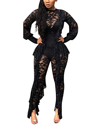 36ded9deaf24 Amazon.com  Womens Elegant Mesh Lace Jumpsuits - Bodycon Floral Sheer  Ruffle Sexy See Through Long Sleeve and Pants One Piece Rompers  Clothing
