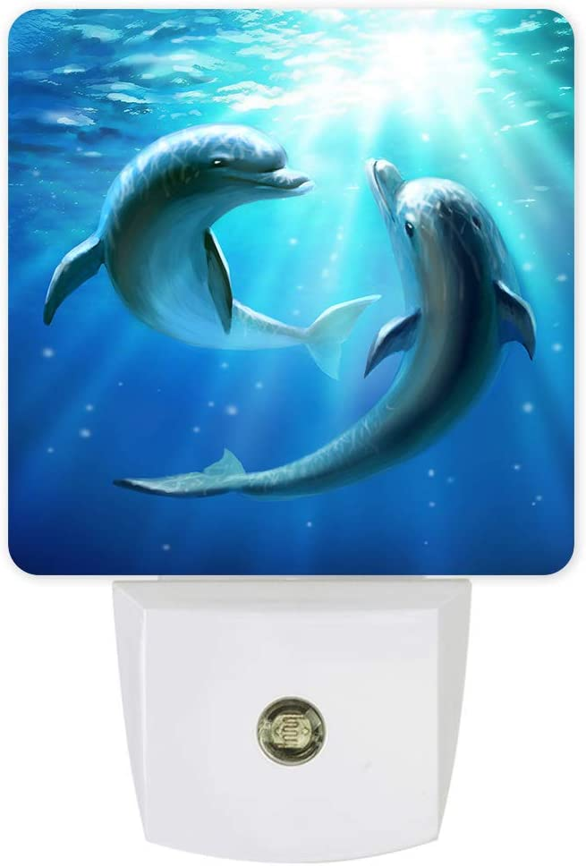 Decorative Night Lights for Kids Plug into Wall LED Lamp Dusk-to-Dawn Sensor,Blue Dolphins Lovers Ocean Animal Pattern Nightlight for Bathroom Nursery Bedroom Hallway Stairs Home Room Decor