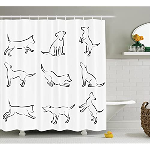 Incroyable Dog Lover Decor Shower Curtain Set By Ambesonne, Digital Sketches Of A  Puppy Moving Around Scratching Simple Life Style Artistic Work, Bathroom  Accessories, ...