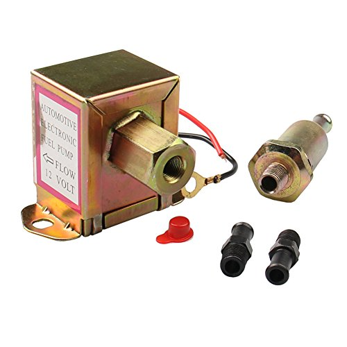 CarBole 12V Universal Auto Metal Electric Fuel Pump Solid 5/16'' 8mm Brass Fitting 2.5-4PSI 20-30 GPH