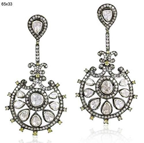 Victorian Style 5. 10ctw Rose Cut Diamonds Polki Sterling Silver Statement Long Danglers Wedding Earrings Chand Bali Bali Style Diamond Earring