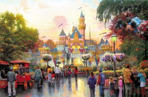 Amazon Com Akdgnd Art Oil Painting Art Print On Canvas Disneyland Anniversary Wall Decor For Room 12x16 Inch No Frame Posters Prints