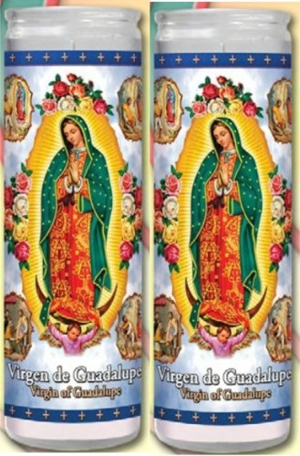 Set of 2 Our Lady of Guadalupe Prayer Candles 2 Veladoras De Nuestra Senora De Guadalupe