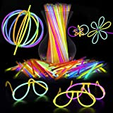"""Glow Sticks Party Favors for Kids - 100 8"""" Non Toxic Multicolor Glow in the Dark Party Supplies for Boys and Girls Halloween Accessories + Outdoor Fun"""