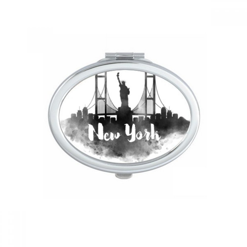 New York America Ink City Oval Compact Makeup Pocket Mirror Portable Cute Small Hand Mirrors Gift