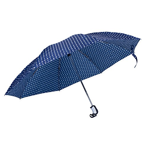 Revers-a-Brella Portable No-Drip Inverted Auto Open Close Compact Umbrella, Navy Polka Dots