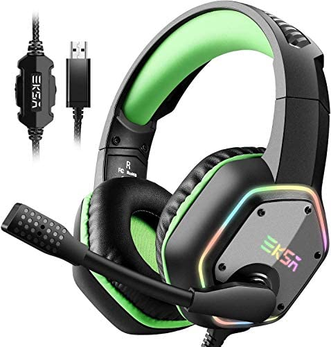 EKSA USB Gaming Headset for PC - Computer Headphones with 7.1 Surround Sound Stereo Noise Canceling Mic/Microphone RGB Light - Gaming Headphones for PS4 PS5 Console Laptop