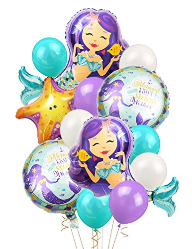 KREATWOW Mermaid Balloons Birthday Party Supplies Mermaid Mylar Balloons for Mermaid Under The Sea Birthday Party Baby Shower Decorations