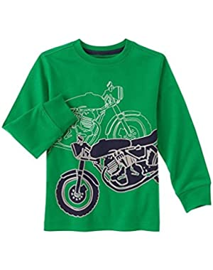 Green With Motorcycles Long Sleeve T Shirt