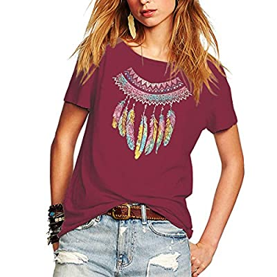 Weigou Woman T Shirt Color Block Feather Necklace Printed Short Sleeve T-Shirts Tops Casual Junior Tops Tees