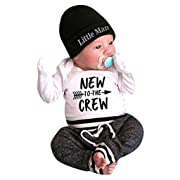 G-Real 3PCS 2019 New Clothes Infant Baby Boys Letter Print Romper Tops +Long Pants+Hat Set Outfits White